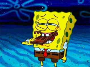 spongebob eating chocolate
