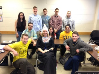 the group :') (No, my professor doesn't normally dress like that. It was a joke for the last day.)